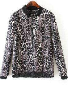 Leopard Long Sleeve Diamond Patterned Jacket