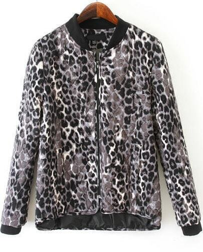 Leopard Long Sleeve Diamond Patterned Jacket
