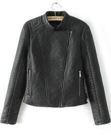Black Long Sleeve Zipper Crop Leather Jacket