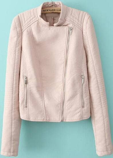 Pink Long Sleeve Zipper Crop Leather Jacket