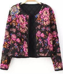 Black Long Sleeve Floral Crop Jacket