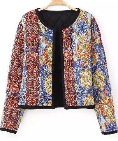 Red Long Sleeve Vintage Floral Crop Jacket