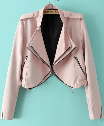Pink Long Sleeve Epaulet Crop Jacket -SheIn(Sheinside)