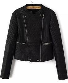 Black Long Sleeve Zipper Leather Crop Jacket