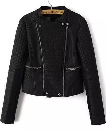 Black Long Sleeve Zipper Leather Crop Jacket