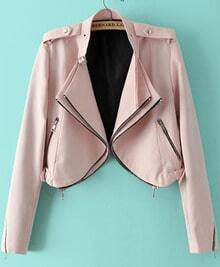 Pink Long Sleeve Epaulet Crop Jacket