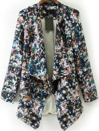 Blue Long Sleeve Floral Fitted Blazer