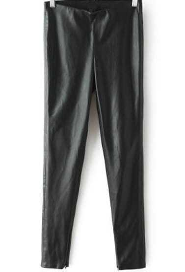 Black High Waist PU Leather Pant
