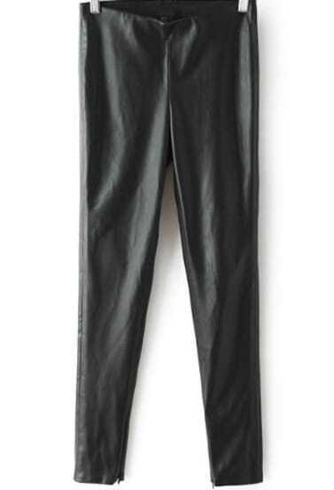 Black High Waist PU Leather Pant