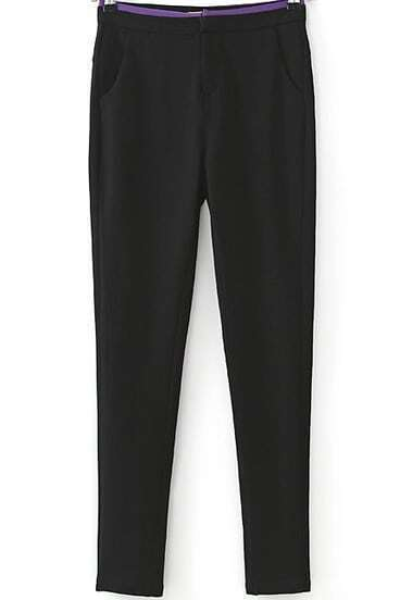 Black Mid Waist Pockets Pencil Pant