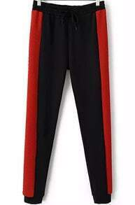 Black Red Drawstring Waist Slim Pant