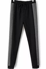 Black Grey Drawstring Waist Slim Pant