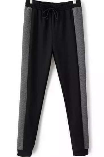 Black Grey Drawstring Waist Slim Pant