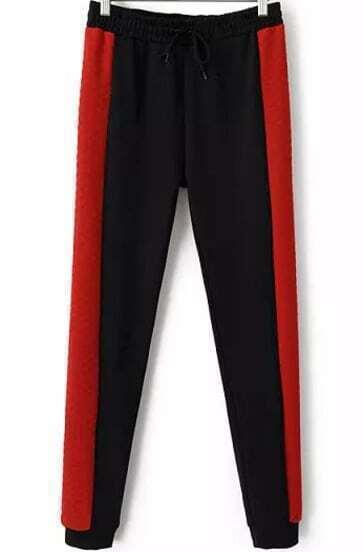 Black Red Drawstring Waist Slim Pant