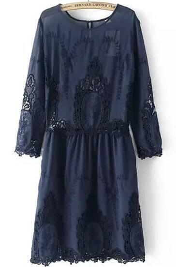 Navy Round Neck Embroidered Hollow Dress