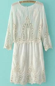 White Round Neck Embroidered Hollow Dress