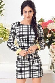 Black Long Sleeve Plaid Slim Bodycon Dress