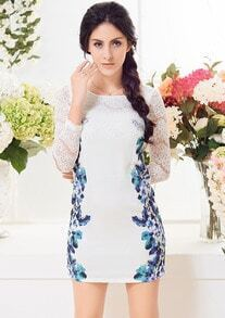 White Lace Long Sleeve Floral Bodycon Dress