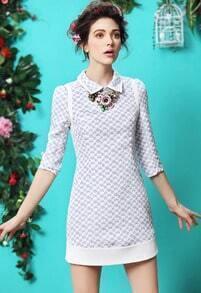 Blue Lapel Puff Sleeve Slim Jacquard Dress