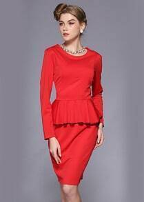 Red Long Sleeve Ruffle Bodycon Dress