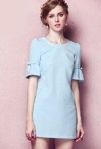 Blue Round Neck Short Sleeve Slim Dress