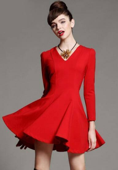 Red V Neck Long Sleeve Ruffle Slim Dress