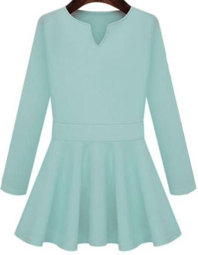 Blue V Neck Long Sleeve Slim Pleated Dress