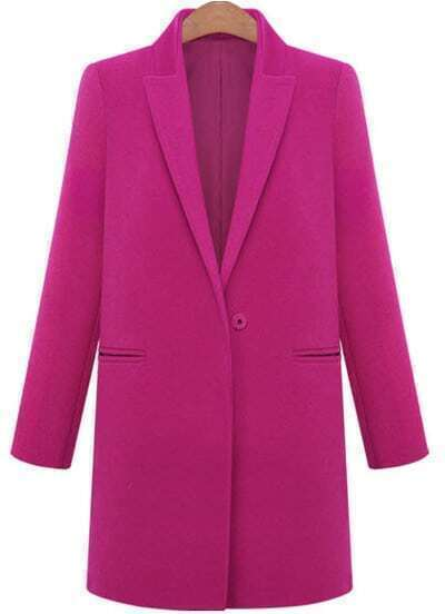 Rose Red Lapel Long Sleeve Loose Woolen Coat