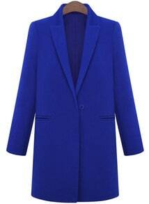 Blue Lapel Long Sleeve Loose Woolen Coat