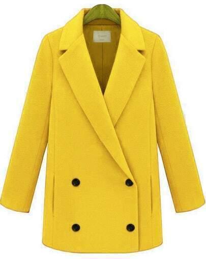 Yellow Lapel Long Sleeve Buttons Woolen Coat