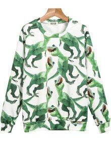 Green Long Sleeve Dinosaurs Print Sweatshirt