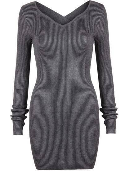 Grey Criss Cross Long Sleeve Bodycon Dress