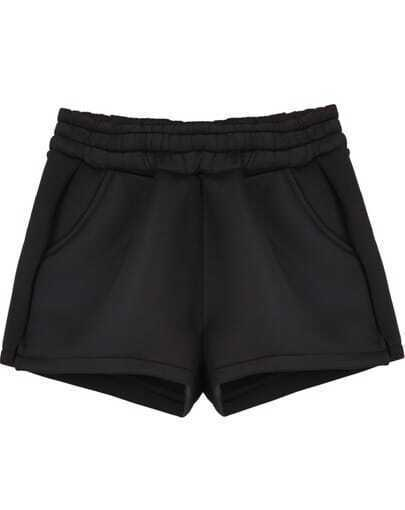 Black Elastic Waist Pockets Shorts