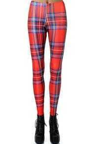 Red Slim Plaid Leggings