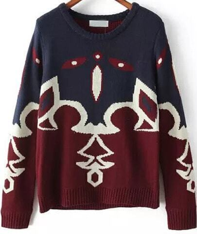 Blue Red Long Sleeve Geometric Pattern Sweater