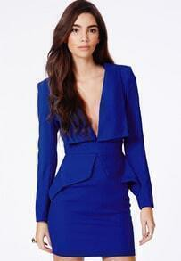 Blue Formaldresses V Neck Long Sleeve Slim Bodycon Dress