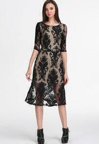Black Long Sleeve Haute Embroidered Backless Lace Dress