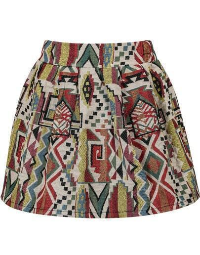 Red Tribal Print Flare Skirt
