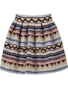 Pink Tribal Print Flare Skirt