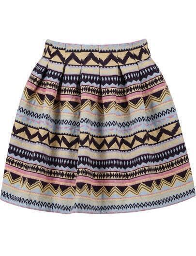 Pink Tribal Print Flare Skirt