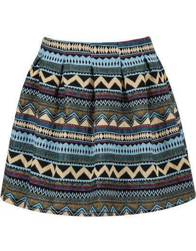 Blue Tribal Print Flare Skirt