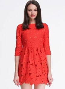 Red Half Sleeve Hollow Crochet Lace Dress