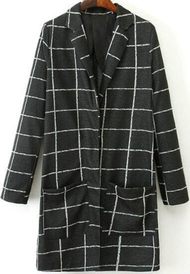 Black Lapel Long Sleeve Plaid Pockets Coat