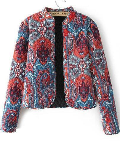 Blue Long Sleeve Floral Diamond Patterned Crop Coat