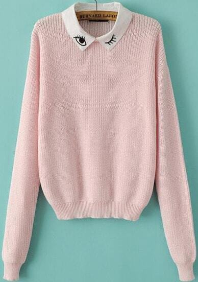 Pink Long Sleeve Eye Embroidered Knit Sweater -SheIn(Sheinside)
