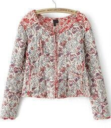 Red Long Sleeve Vintage Floral Crop Jacket