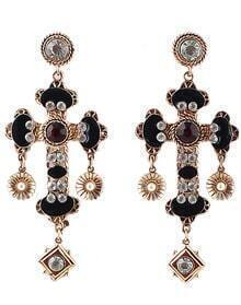 Black Gemstone Gold Cross Earrings