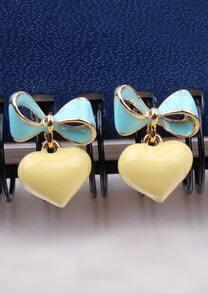 Yellow Green Heart Bow Earrings