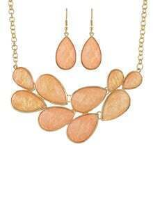 Orange Drop Gemstone Gold Chain Necklace With Earrings