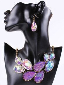 Purple Drop Gemstone Gold Chain Necklace With Earrings